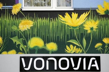 The logo of German real estate company Vonovia is seen at a Vonovia building in Essen
