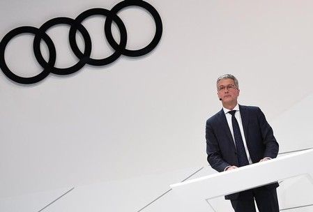 Audi CEO, Rupert Stadler gives a speech at the company's annual news conference in Ingolstadt