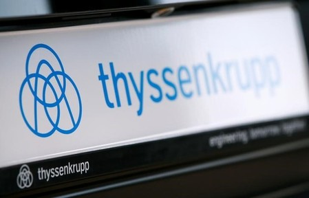 The logo of German steel-to-elevators group ThyssenKrupp AG is pictured during the company's annual news conference in Essen