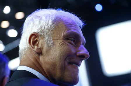 Volkswagen CEO Mueller reacts during the Frankfurt Motor Show (IAA) in Frankfurt