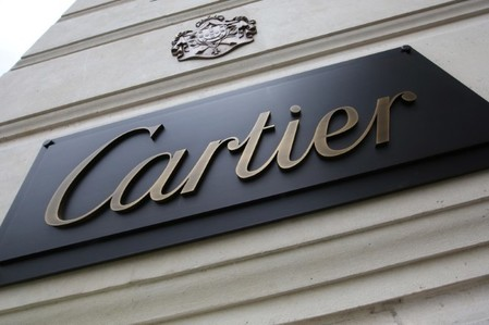 The Cartier logo is pictured at a store in Paris