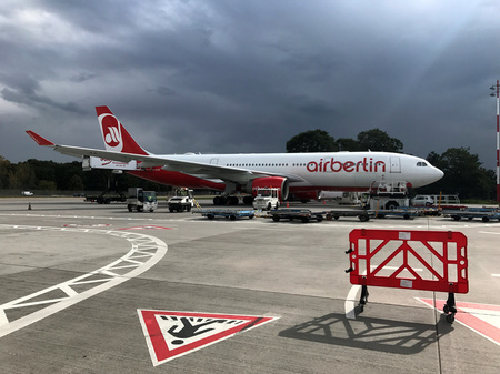 A German carrier Air Berlin aircraft is pictured at Tegel airport in Berlin