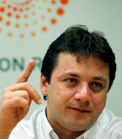 FILE PHOTO: Wesley Batista, chief executive of JBS, the world's largest beef producer, gestures as he speaks during the Reuters Latin American Investment Summit in Sao Paulo, Brazil