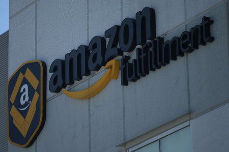 A view of the Amazon fulfillment logo in Mexico City