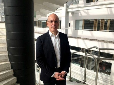 Autoliv CEO Carlson poses for a picture at company headquarters in Stockholm