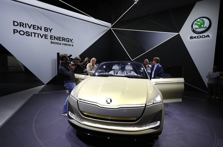 A Skoda Vision E is pictured during opening of the Frankfurt Motor Show