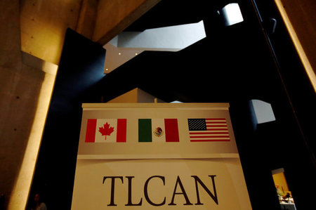FILE PHOTO: NAFTA banner is pictured where the second round of NAFTA talks involving the United States, Mexico and Canada is taking place in Mexico City
