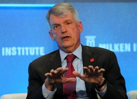 Tim Sloan, CEO and President of Wells Fargo & Co., speaks during the Milken Institute Global Conference in Beverly Hills