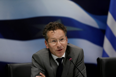 Dutch Finance Minister and Eurogroup President Dijsselbloem speaks during a news conference with Greek Finance Minister Tsakalotos at the Finance ministry in Athens