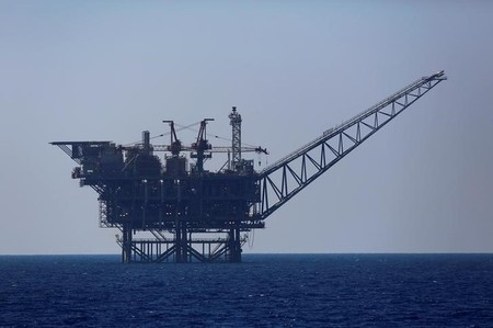 An Israeli gas platform is seen in the Mediterranean sea