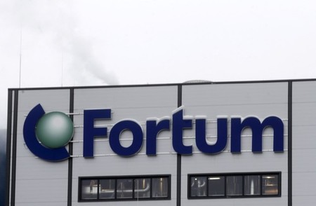 FILE PHOTO: Fortum logo is pictured on the biomass combined heat and power plant in Jelgava