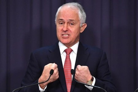 FILE PHOTO - Prime Minister Malcolm Turnbull reacts during a media conference at Parliament House in Canberra, Australia