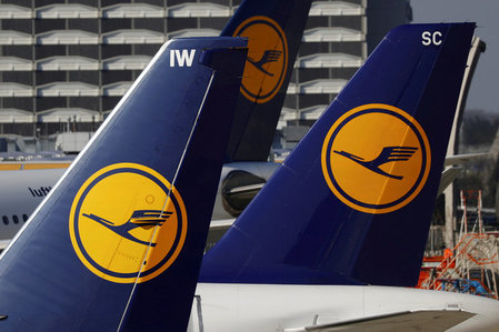 FILE PHOTO: File picture of planes of the Lufthansa airline on the tarmac in Frankfurt airport