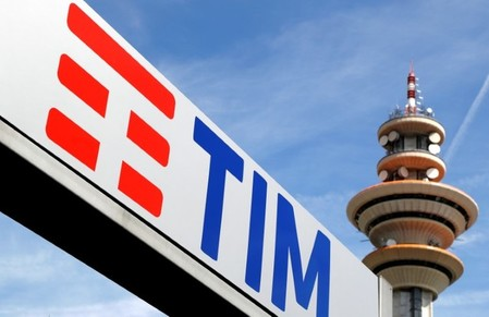 Telecom Italia new logo is seen at the headquarter in Rozzano neighbourhood of Milan