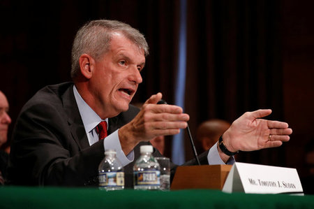 Wells Fargo & Company CEO and President Tim Sloan testifies before the Senate Banking Committee on Capitol Hill in Washington