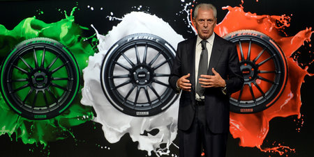 Pirelli Chief Executive Marco Tronchetti Provera speaks during a ceremony at the Milan Stock Exchange, in Milan
