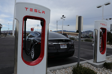 A Tesla charging station is seen in Salt Lake City