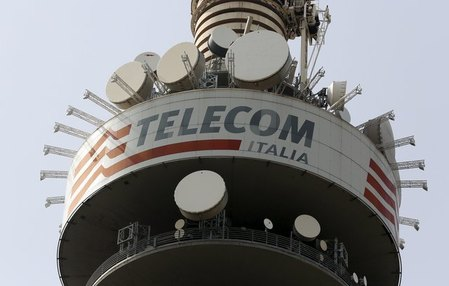 FILE PHOTO:A Telecom Italia tower is pictured in Rome
