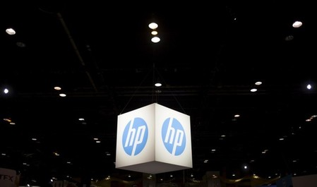 FILE PHOTO: The Hewlett-Packard (HP) logo is seen as part of a display at the Microsoft Ignite technology conference in Chicago