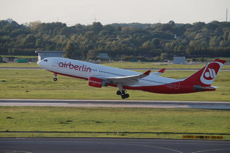 An AirBerlin aircraft takes off from Duesseldorf airport
