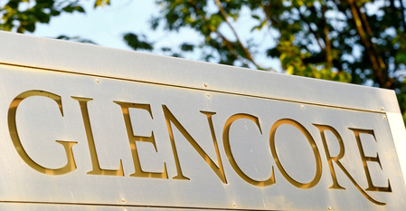 The logo commodities trader Glencore is pictured in Baar