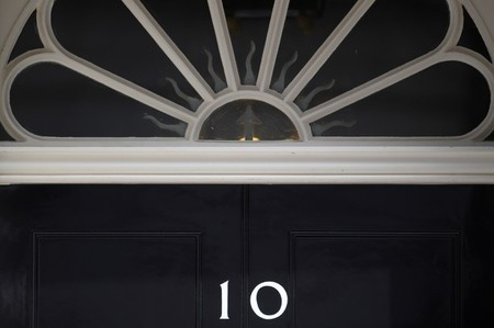 The door of 10 Downing Street is seen, in central London