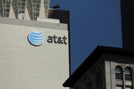 The AT&T logo is pictures on a building in Los Angeles