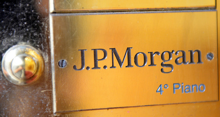 J.P. Morgan Private Bank's door bell is seen at its headquarters in Milan