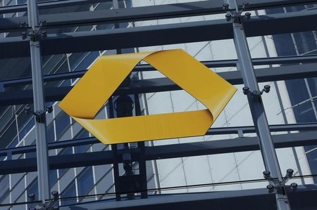 A Commerzbank logo is pictured after the bank's annual news conference in Frankfurt