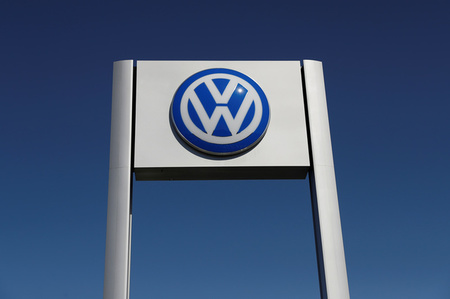 A Volkswagen logo is seen at Serramonte Volkswagen in Colma, California