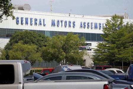 FILE PHOTO: General view of the front entrance at the General Motors Assembly Plant in Arlington Texas