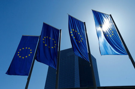 FILE PHOTO: European Union flags flutter outside the headquarters of ECB in Frankfurt