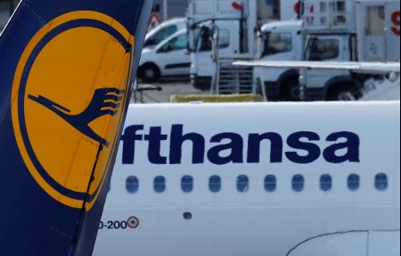 Lufthansa airliners park at Tegel airport in Berlin