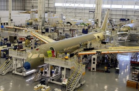 Bombardier's C Series aircrafts are assembled in their plant in Mirabel, Quebec