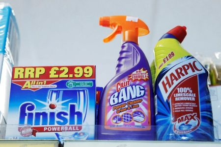 FILE PHOTO: Products made by Reckitt Benckiser stand on a shelf in a store in Brighton, England