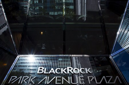 File photo of the BlackRock sign in the Manhattan borough of New York