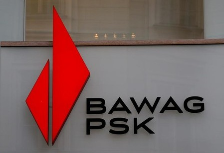 FILE PHOTO: The logo of BAWAG PSK Bank is pictured on one of its branches in Vienna
