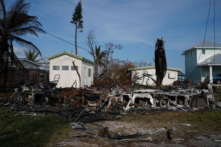 A recreational vehicle (RV) that caught fire is pictured following Hurricane Irma in Cudjoe Key, Florida