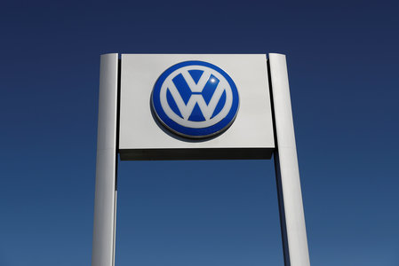 FILE PHOTO: A Volkswagen logo is seen at Serramonte Volkswagen in Colma, California
