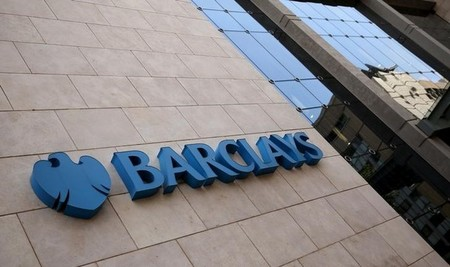 FILE PHOTO - A Barclays logo is pictured outside the Barclays towers in Johannesburg