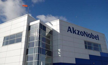 General view of the outside of AkzoNobel's new paint factory in Ashington, Britain