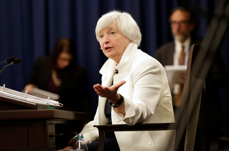 FILE PHOTO: Federal Reserve Chairman Janet Yellen speaks during a news conference after a two-day Federal Open Markets Committee (FOMC) policy meeting in Washington
