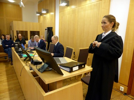 Lead prosecutor Marianne Bender in Ola Rollen insider trading case trial arrives at the district court in Oslo