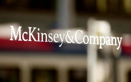FILE PHOTO The logo of consulting firm McKinsey + Company is seen in Zurich
