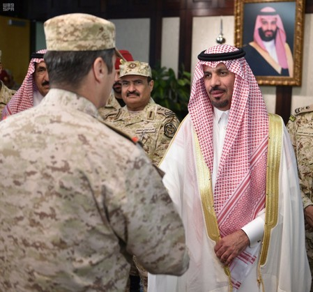 Saudi Prince Khaled bin Ayyaf, minister of the National Guard, is greeted in Riyadh