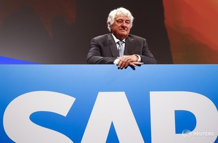 SAP Chairman of the Supervisory Board Plattner stands before the company's annual general meeting in Mannheim