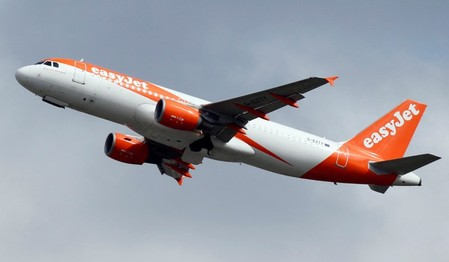 EasyJet Commercial passenger aircraft takes off in Colomiers near Toulouse, France