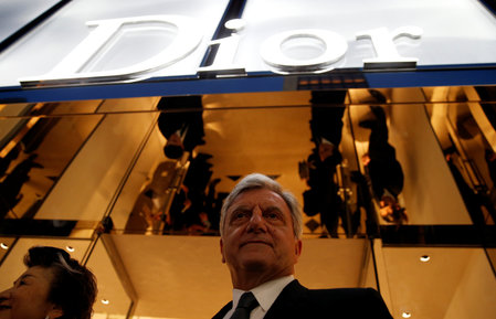 Christian Dior Chief Executive Sidney Toledano stands in front of Dior's new flagship store in Tokyo