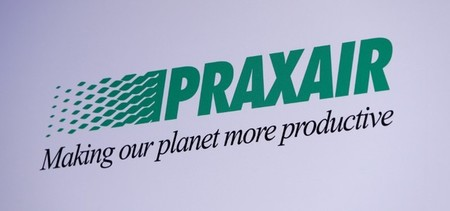 The Praxair logo is seen during a news conference in Munich
