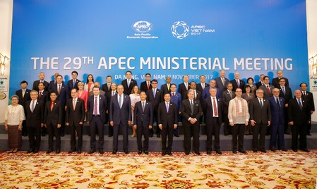 Ministers gather for a group photo after the APEC Ministerial Meeting (AMM) ahead of the Asia-Pacific Economic Cooperation (APEC) Summit leaders meetings in Danang